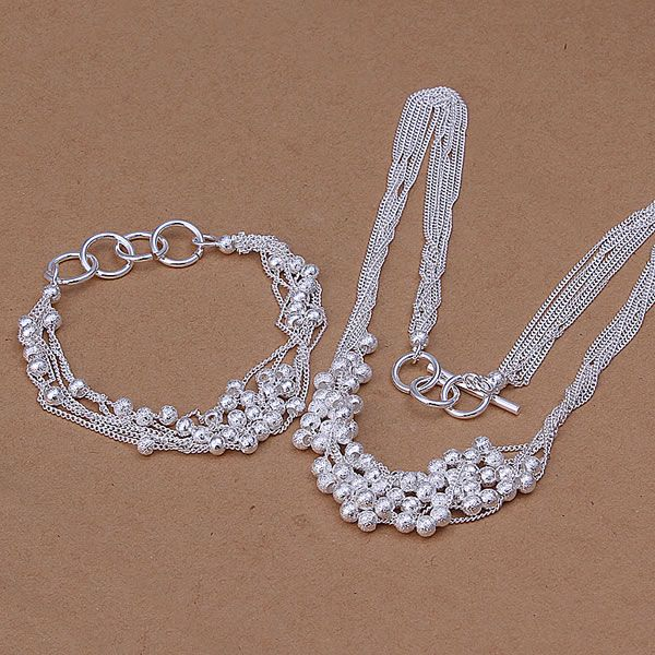 S142 wholesale 925 sterling silver jewelry set, fashion jewelry set Six Strands Shine Ball Bracelet Necklace /ahmaiyta aliajcpa